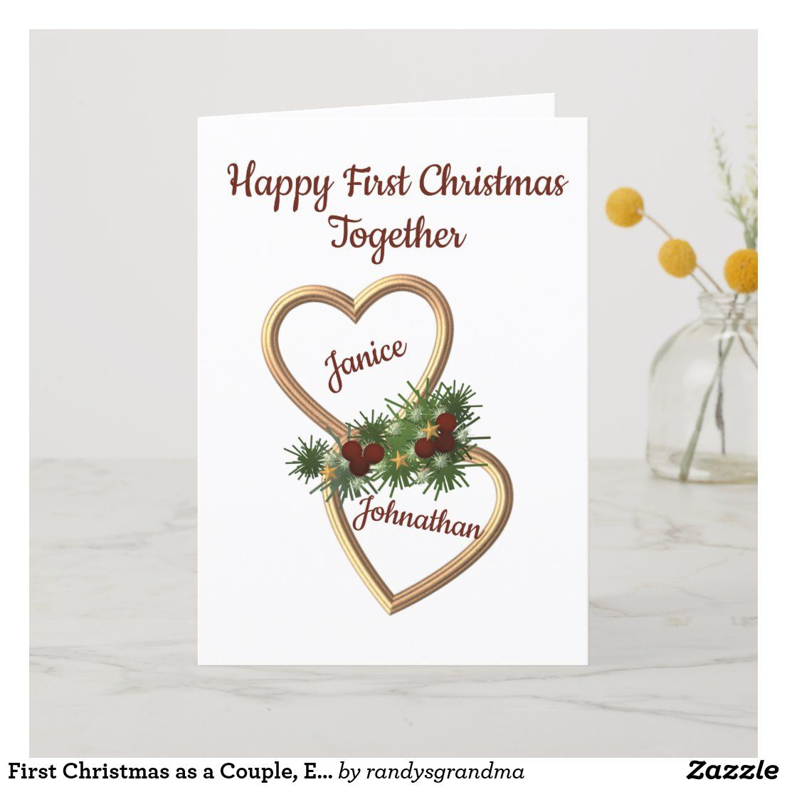 First christmas as a couple evergreens hearts holiday