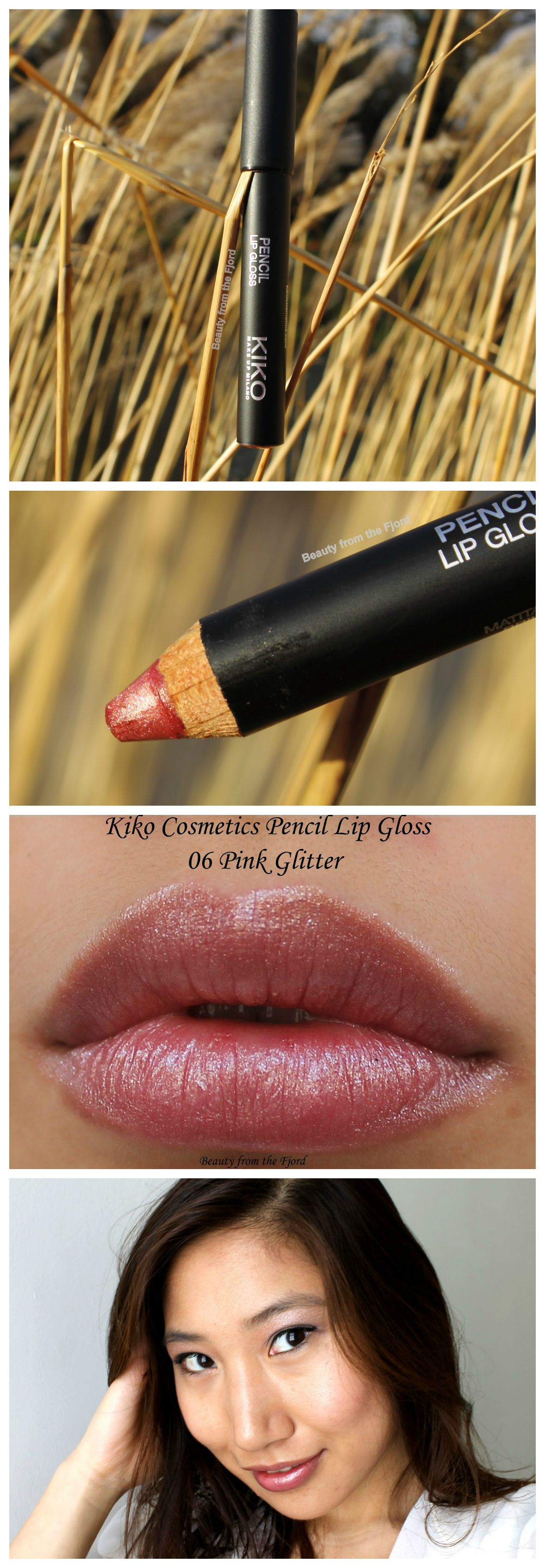 Kiko Pencil Lip Gloss in Pink Glitter Review and Swatches