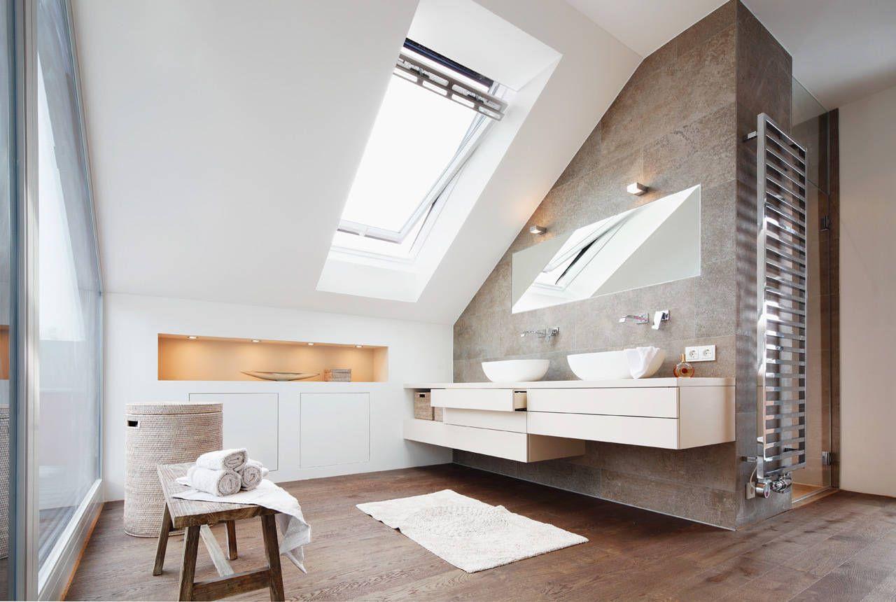 Moderne Badezimmer Bilder: Dachaufstockung eines Einfamilienhauses ... | {Badezimmer fliesen holzoptik dunkel 76}