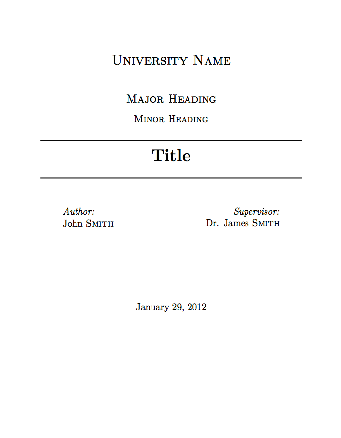 university assignment title page template