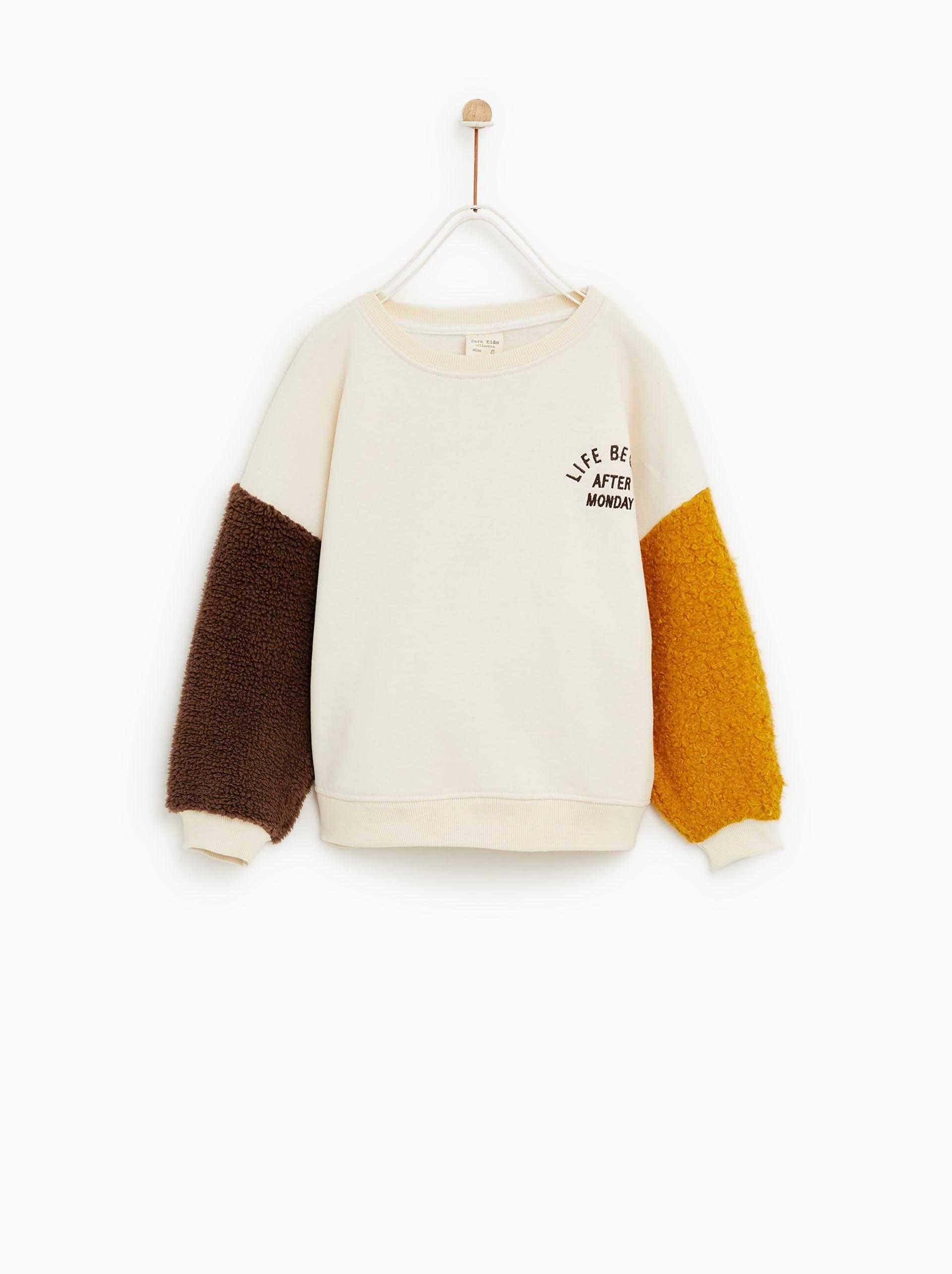 Sweatshirt with faux shearling sleeves | Zara kids, Girls ...