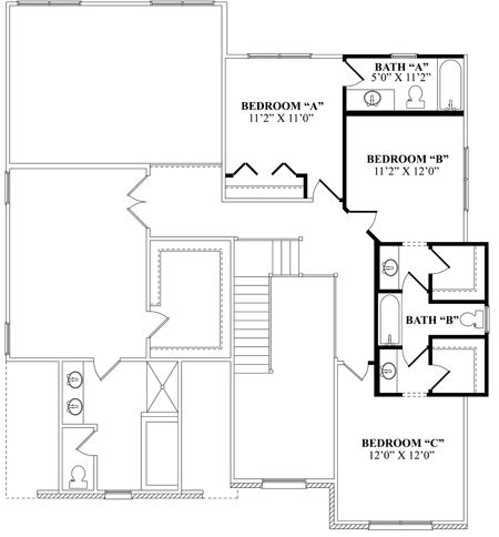Jack and jill bathroom optional second floor with - Jack and jill bathroom plans ...
