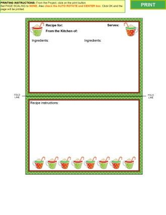 Winter Collection 2 Recipe Card Templates For MS Word