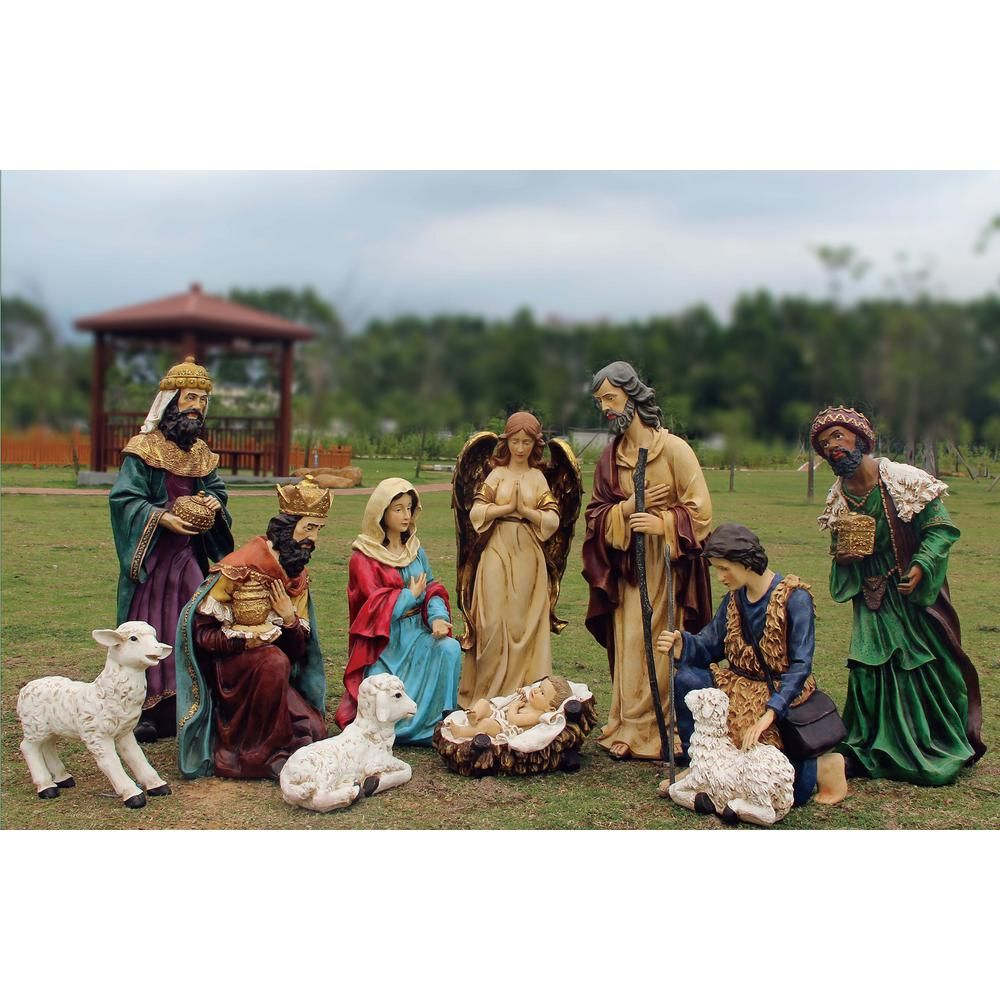 Santa S Workshop Inc 56 In Outdoor Nativity Set With Creche 12 Piece Outdoor Nativity Sets Outdoor Nativity Nativity Set