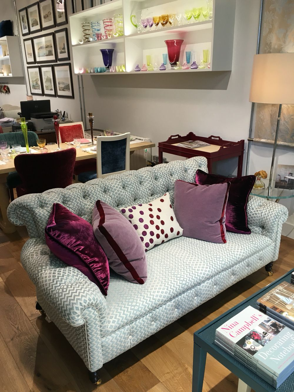 Gorgeous Gatsby sofa and Kevin O'Brien Cushions in the fabulous Nina Campbell Showroom at Chelsea Harbour, London.