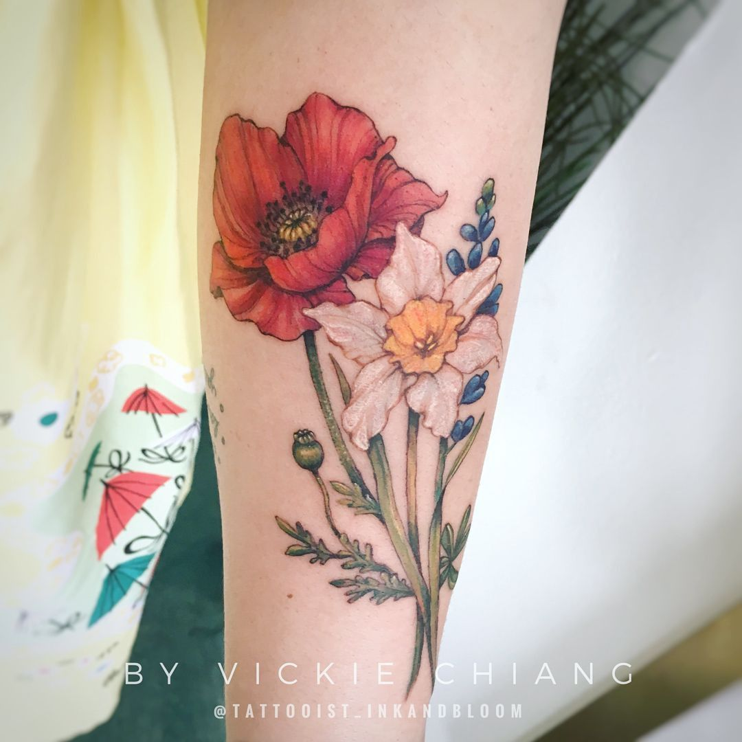 A Marigold Instead Of The Poppy Larkspur Daffodil Birthdayflowers Pretty Flower Tattoos Poppy Flower Tattoo Marigold Tattoo