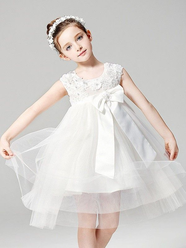 0345fab8d40a2 Shop online short empire waist tulle ballroom applique flower girl dress  with bow for less. Free Shipping and Custom-made. Pro since 2009.