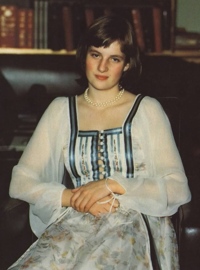 1975: A rare photo from the family album showing a shy Diana at a house party at Althorp.