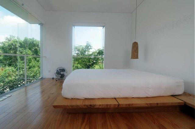 Glas Wand Schlafzimmer Holz Bodenbelag Garten