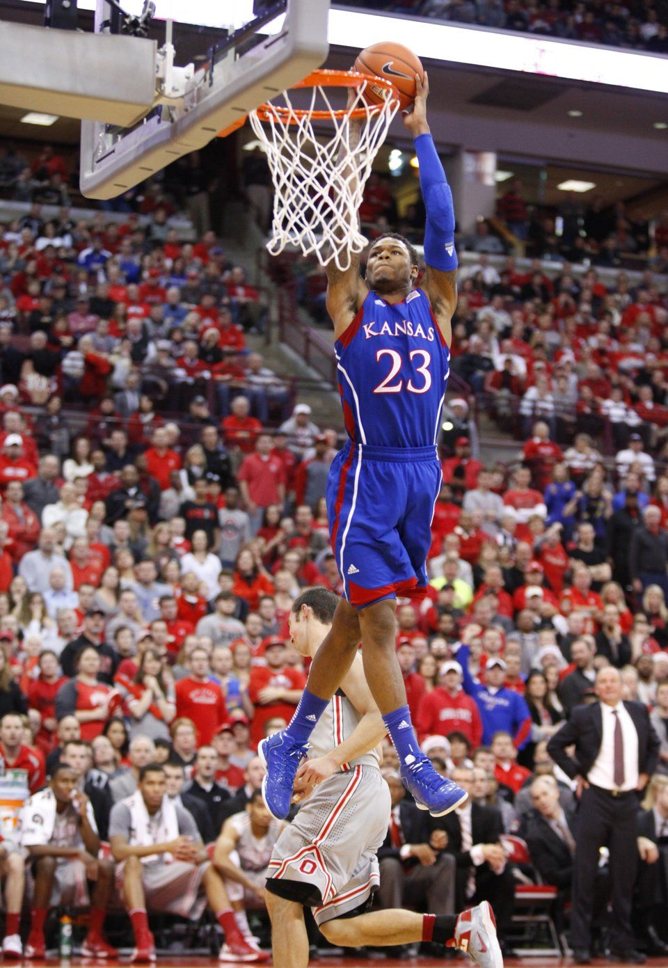 Kansas guard Ben McLemore elevates for a dunk against Ohio
