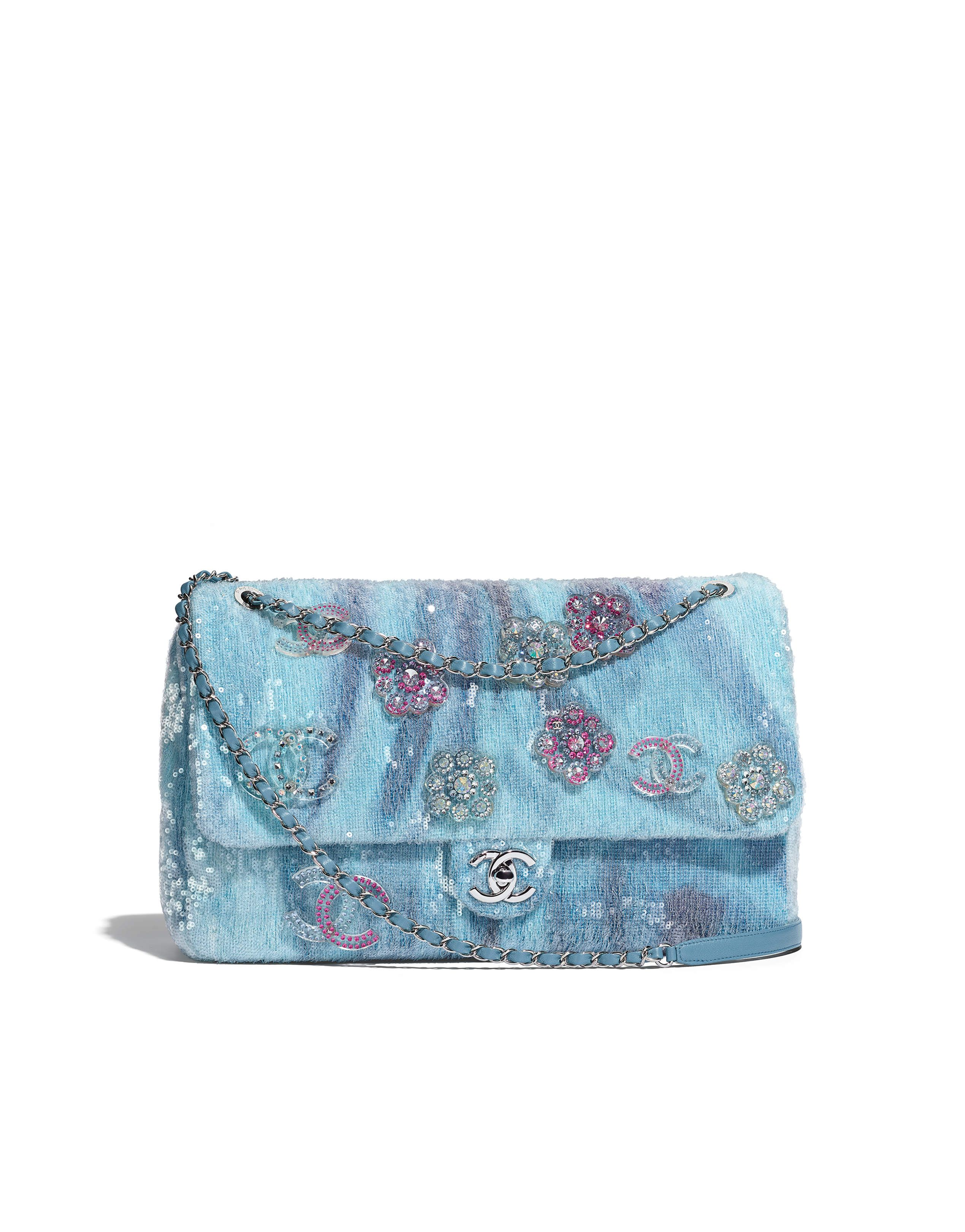 30afe9fa79e6 Chanel - SS2018   Light blue, blue & turquoise sequin charm flap bag ...