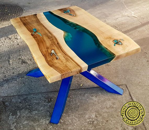 resin river coffee table with with turquoise legs en 2019. Black Bedroom Furniture Sets. Home Design Ideas