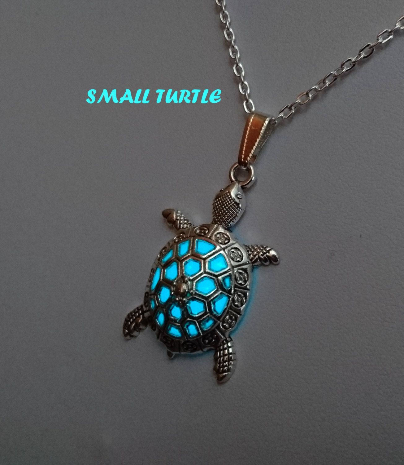 New Glow in the Dark Stainless Steel Chain Sea Turtle Crescent Necklace Pendant