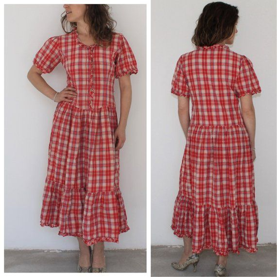 3e3b8d3a6bd Vintage Dress Gingham Plaid Dress Checkered Red White Summer Long Maxi Dress  Western Country Cowgirl