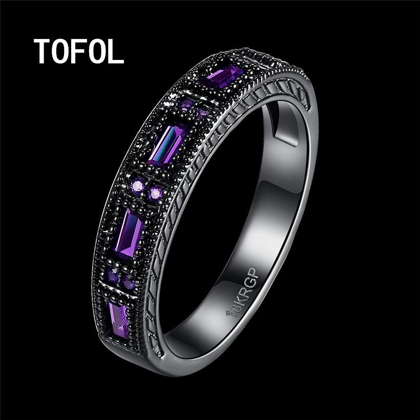 TOFOL Rings New Trendy Black Ring Men Women Zicon Rings Blue Green