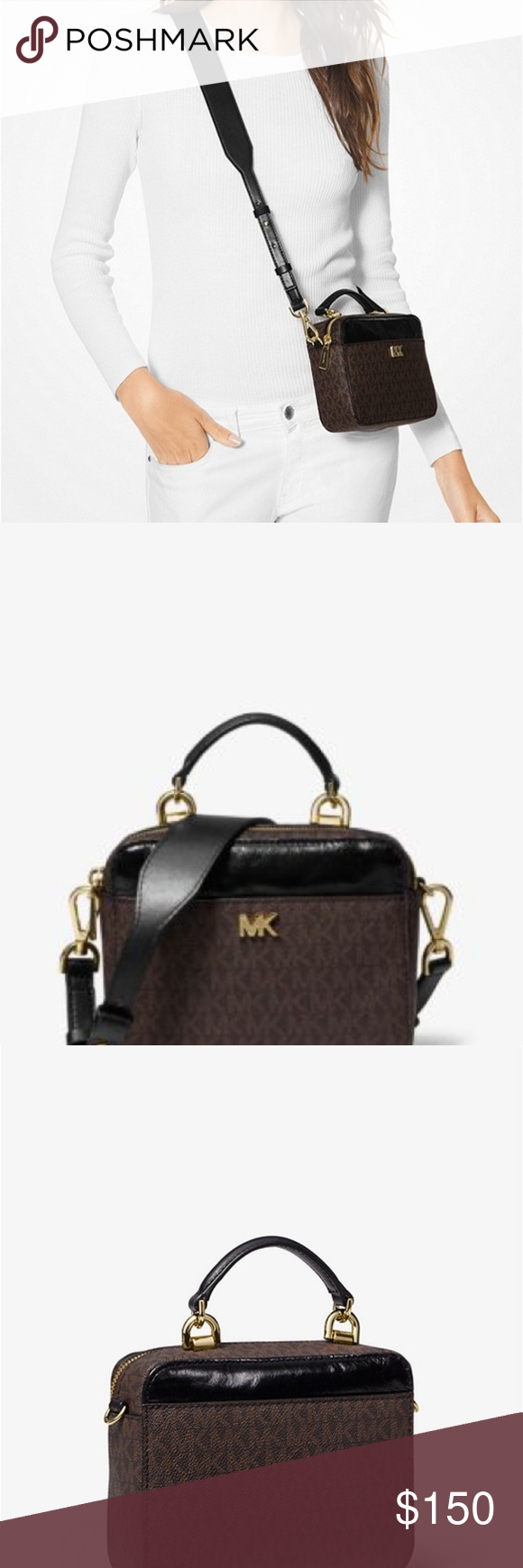 f903e869f9caa5 MICHAEL KORS Mott Mini Logo Leather Crossbody MICHAEL MICHAEL KORS Mott  Mini Logo and Leather Crossbody