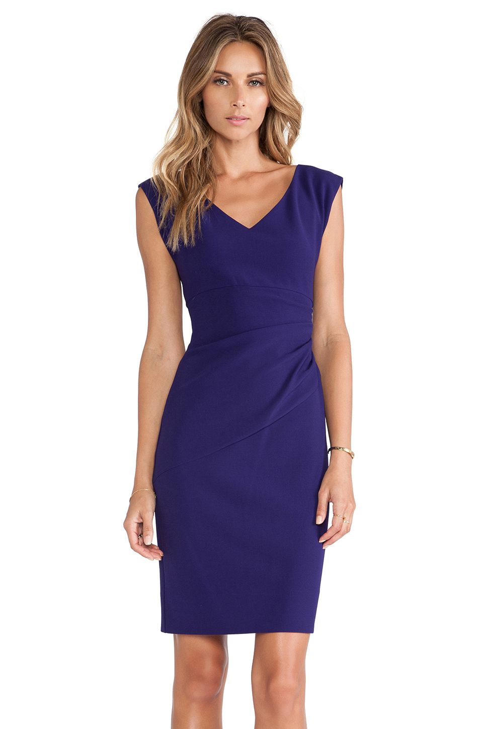 Diane Von Furstenberg Bevin Ruched Waist Dress In Purple Haze