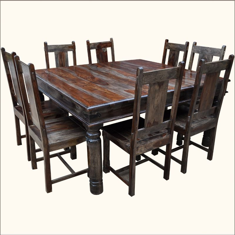 Large Rustic Furniture Square Solid Wood Dining Table Chair Set
