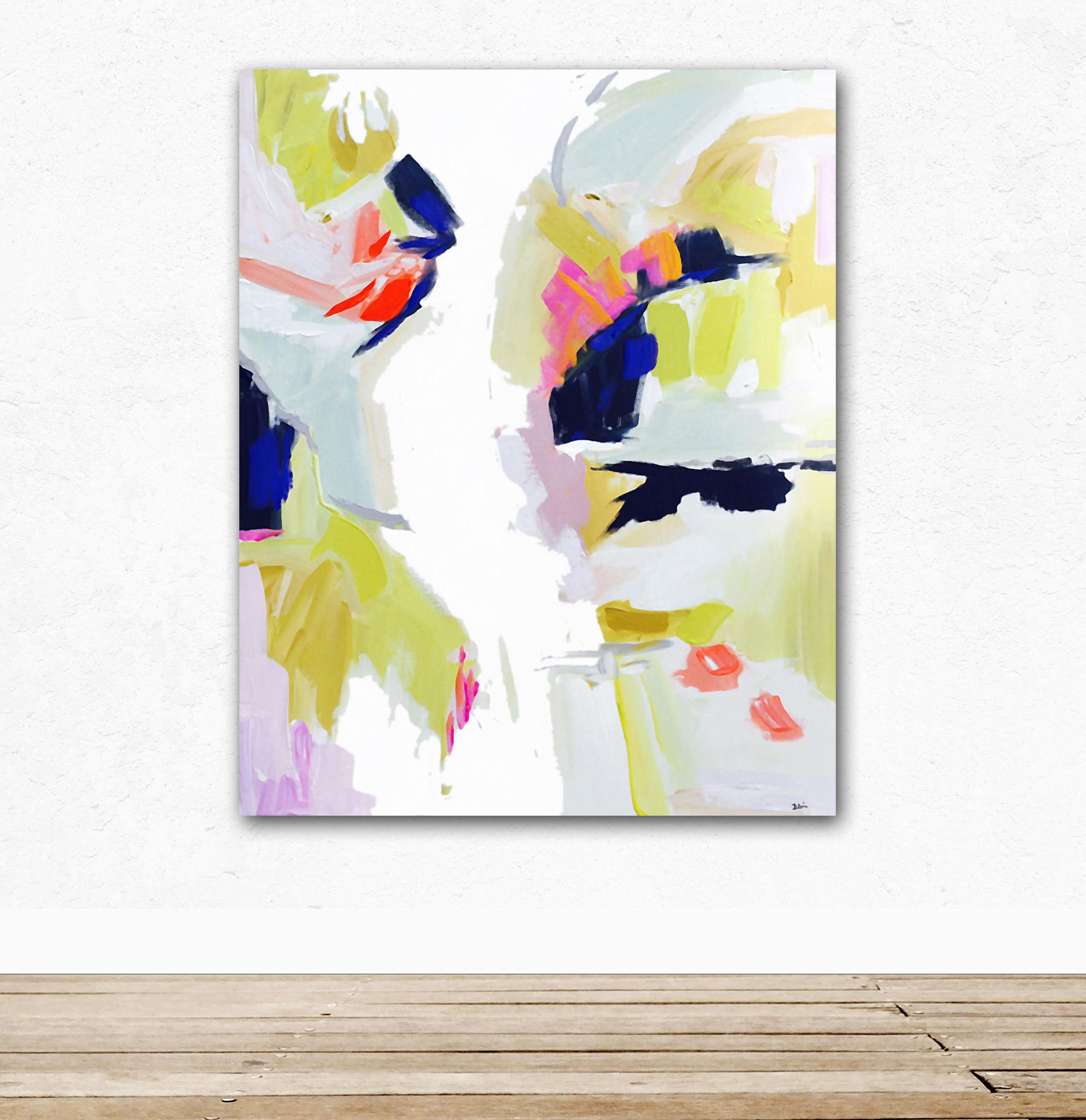 Modern Art Print , Abstract Print, 4x5 to 24x30, pink, lime, mint ...