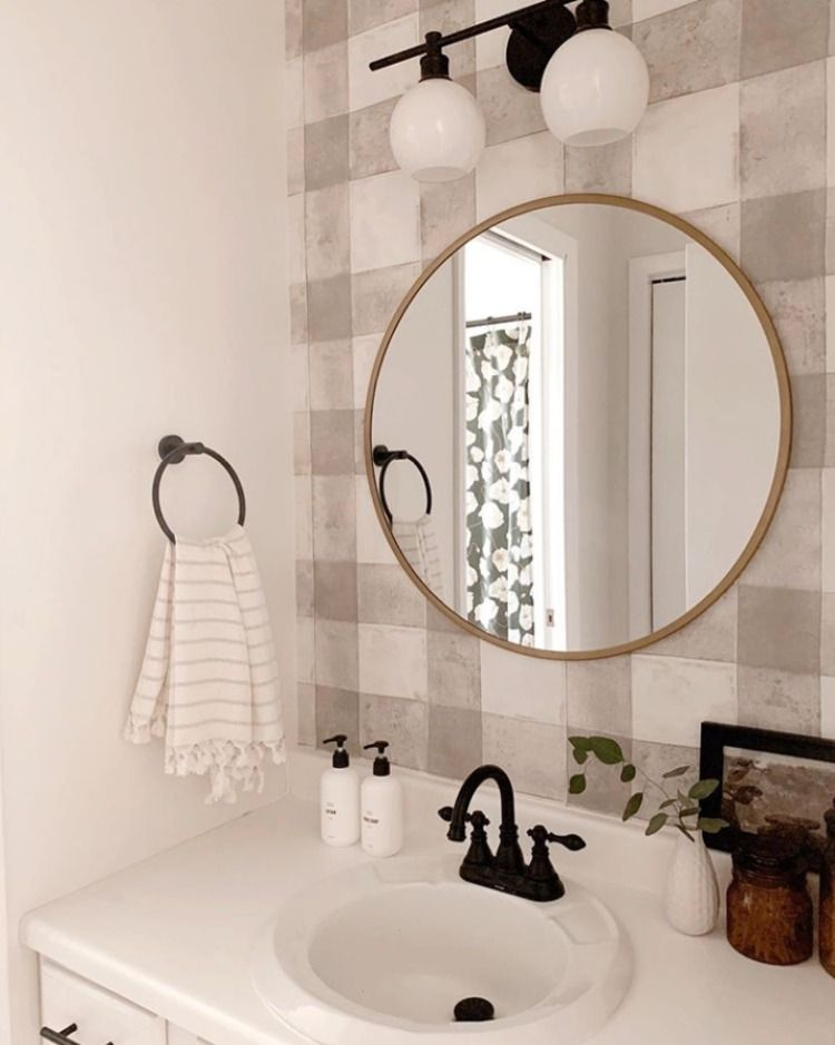 Buffalo plaid peel and stick wallpaper easy bathroom