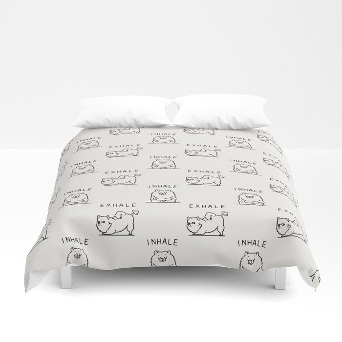 "Inhale Exhale Pomeranian Duvet Cover by Huebucket - Queen: 88"" x 88"""
