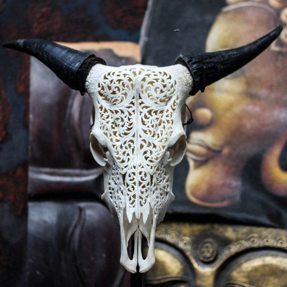 Beautiful Hand Carved Steer Tribal Cow Skull With Horns Bull