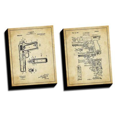 Picture it on Canvas 'Gun Vintage 2 Patent Drawings' 2 Piece Graphic Art on Canvas Set