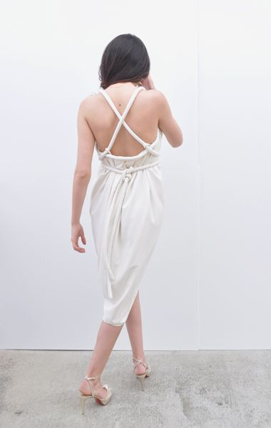 ELECTRIC FEATHERS INFINITE ROPE DRESS, SILK NOIL