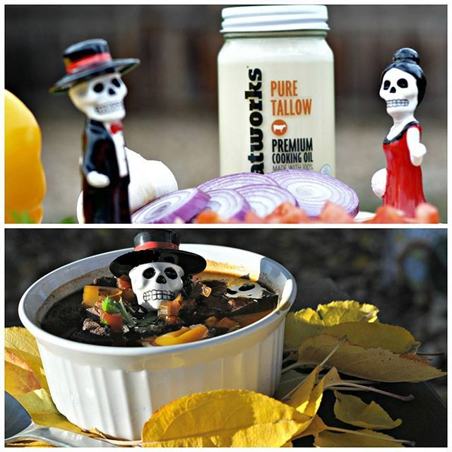 """Talloween Turns Delicious! Talloween turns this Classic Goulash into a hauntingly delicious """"Ghoulash."""" Use any of our Tallows, Lards and Poultry Fats in this traditional stew recipe from the great people at Paleo Leaphttp://paleoleap.com/hungarian-beef-goulash. Premium Grass Fed Tallow, Pastured Raised Lards and Organic Poultry Fats sourced from small family farms and rendered to perfection at www.fatworks.com #talloween #fatworks #goulash #beeftallow #tallow #paleo #grassfed"""