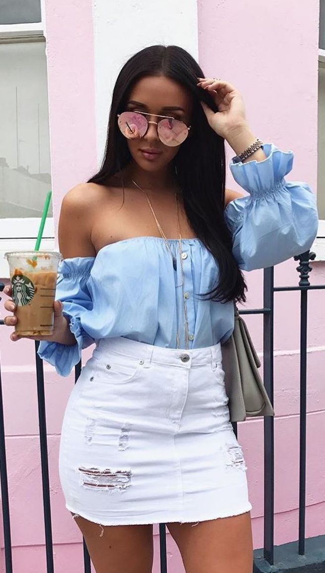 3419672fe Top| Blouse| Blue| Sky| Light| Baby| Off shoulder| Long sleeve| Tucked in|  Skirt| Mini| White| Denim| Ripped| Distressed| Short| Leg| Necklace|  Statement| ...
