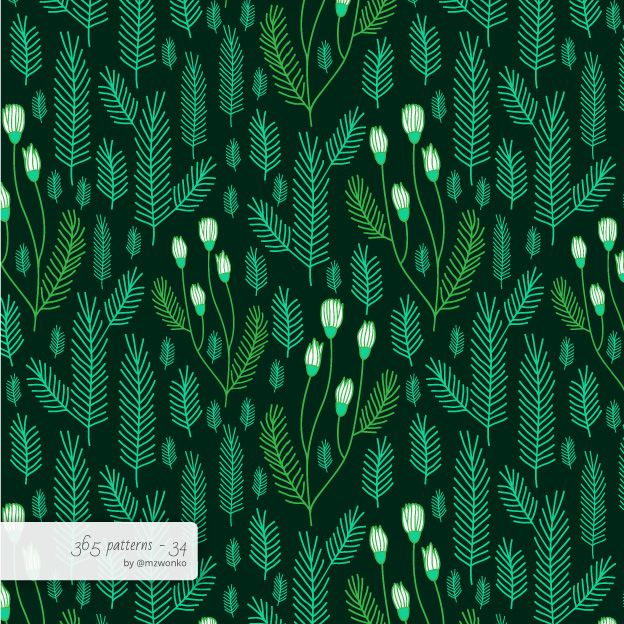 Evergreen pattern #pattern #surfacedesign #365 #365patterns #art #mzwonko
