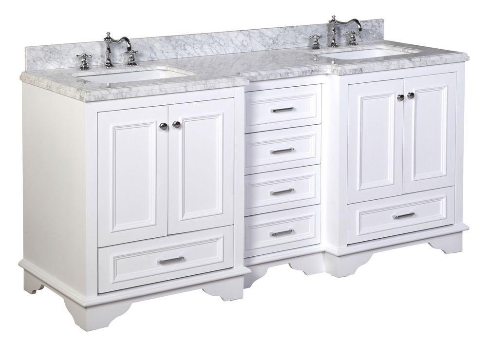 72 Luxury White Double Sink Bathroom Vanity W Carrara Marble Top