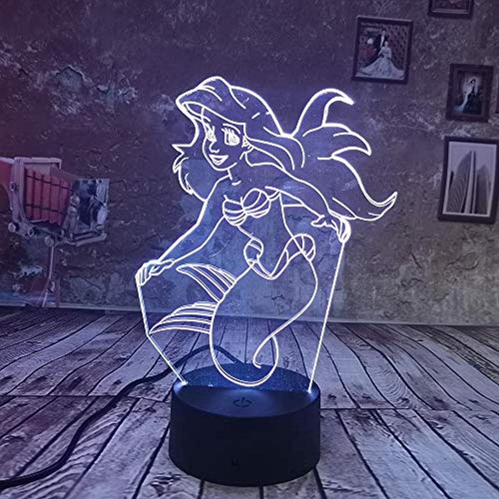 Nachtlampe Little Mermaid 3d Optische Schreibtischlampe Nachtlicht Lampe 7 Farben Andern Tischlicht Kabel Fur Heimtext Nachtlampen Nachtlicht Schreibtischlampe