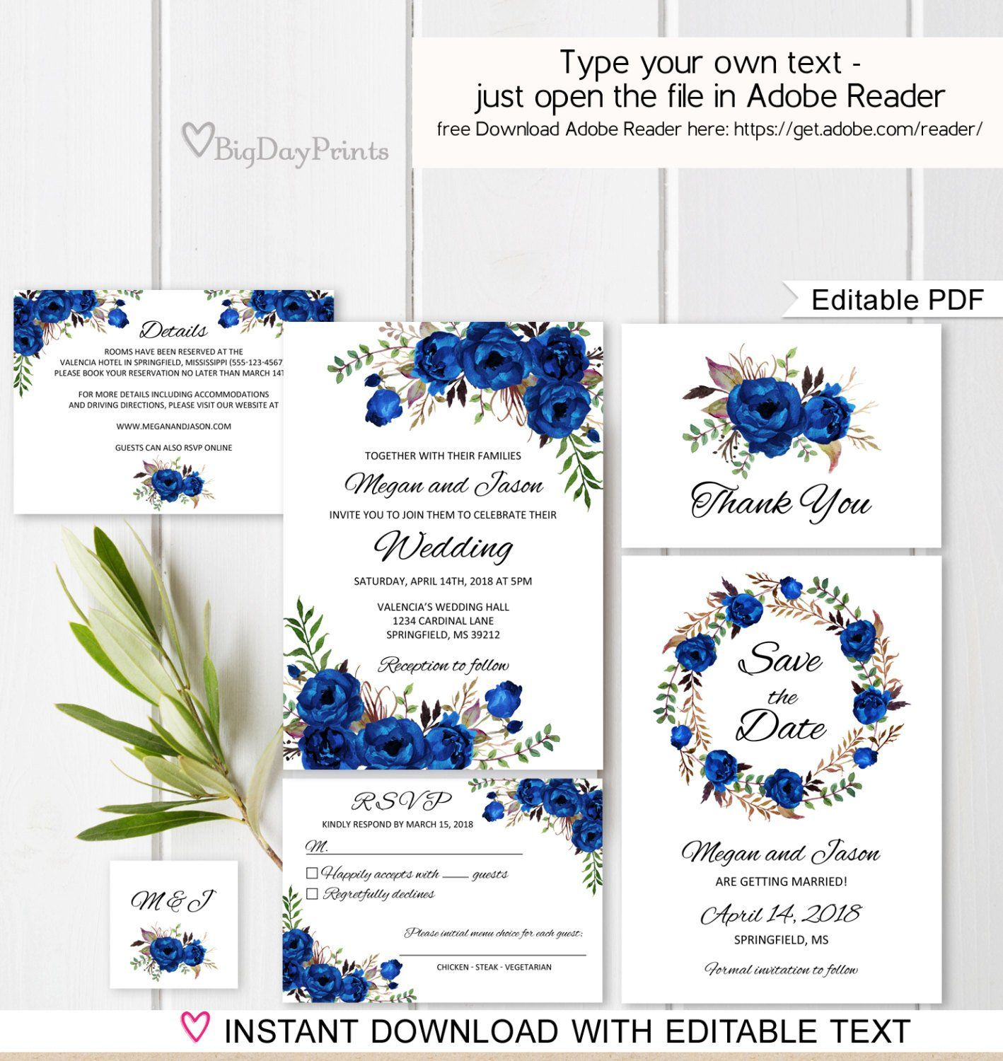 Blue Wedding Invitation Template Royal Blue Wedding  Etsy  Blue