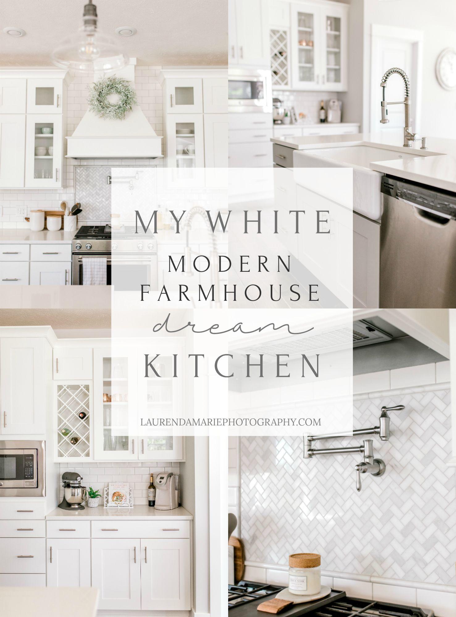 My White Modern Farmhouse Dream Kitchen Rockford Michigan Laurenda Marie Photography White Farmhouse Kitchens White Modern Kitchen Farmhouse Kitchen Interior