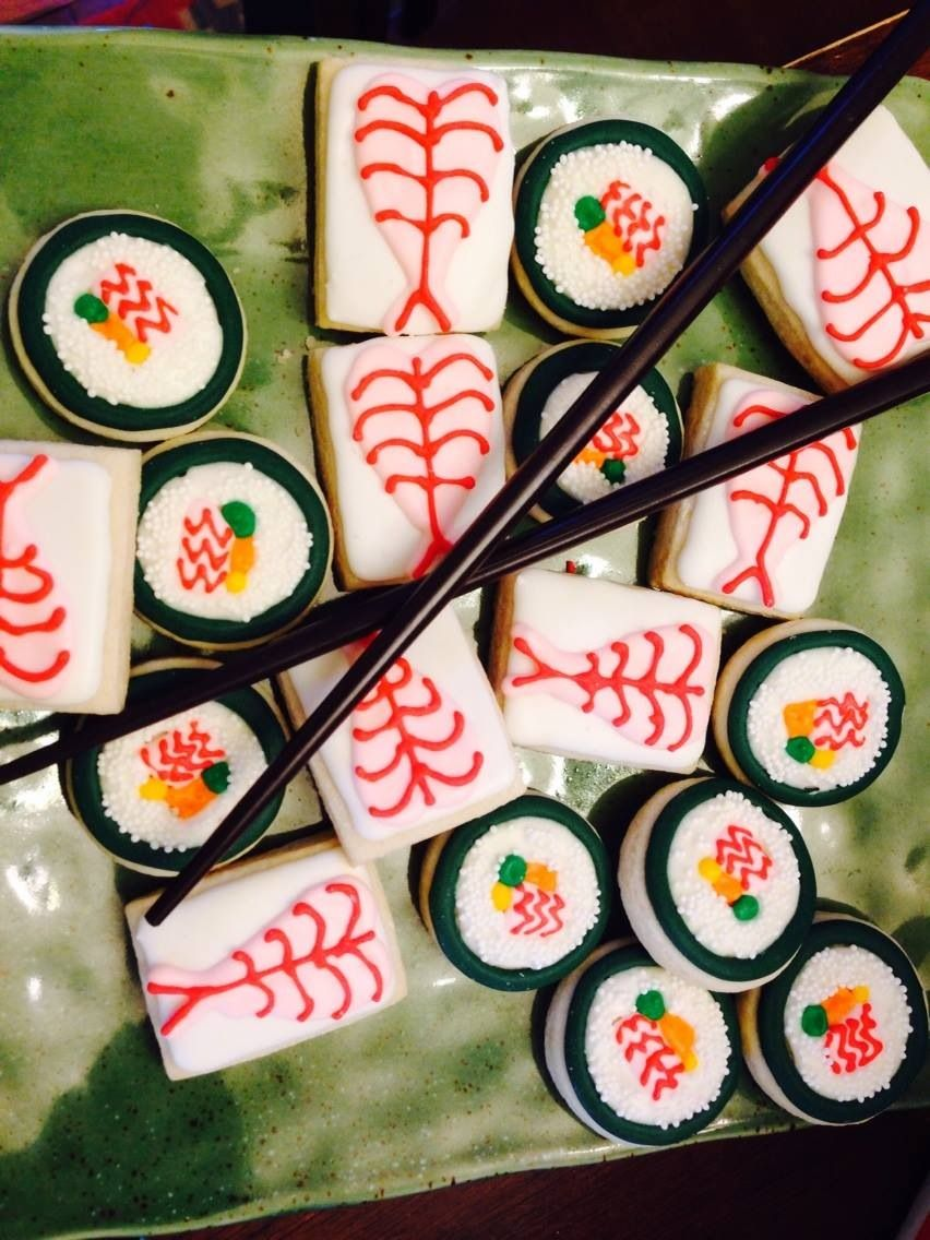 Ollie's fifth birthday sushi cookies from the talented cookie.