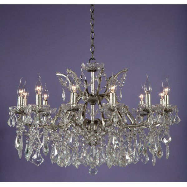 12 Light Glass Chandelier Silver Finish Glass Chandelier Chandelier Chandelier Ceiling Lights