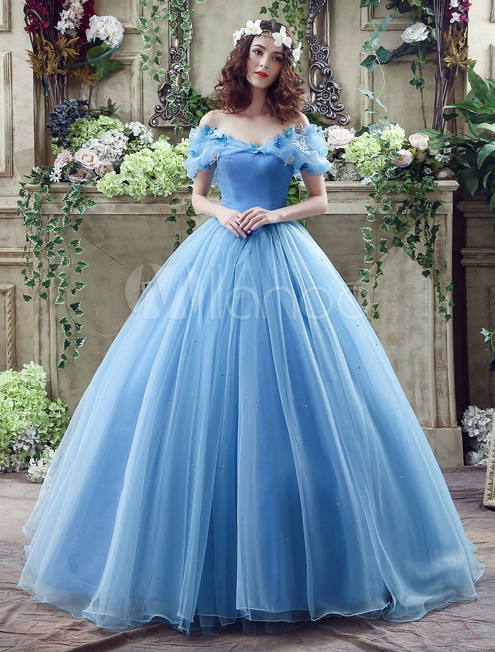 Cinderella Dress Blue Organza Tulle Off the Shoulder Ball Gown Dress ...