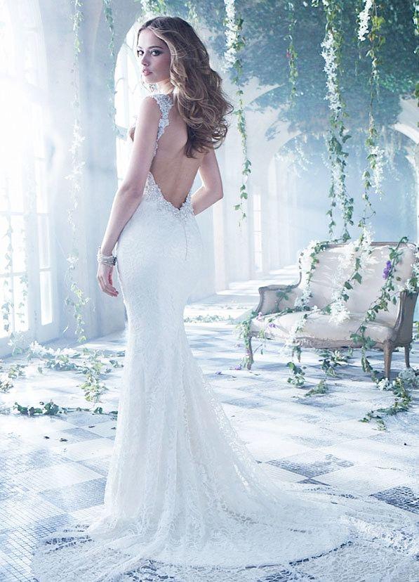 #Fashion Luxurious Wedding Dresses#2015 Luxurious Mermaid V Neck Straps Lace Wedding Dresses with Beading Open-Back
