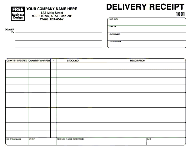 delivery receipt template in excel format