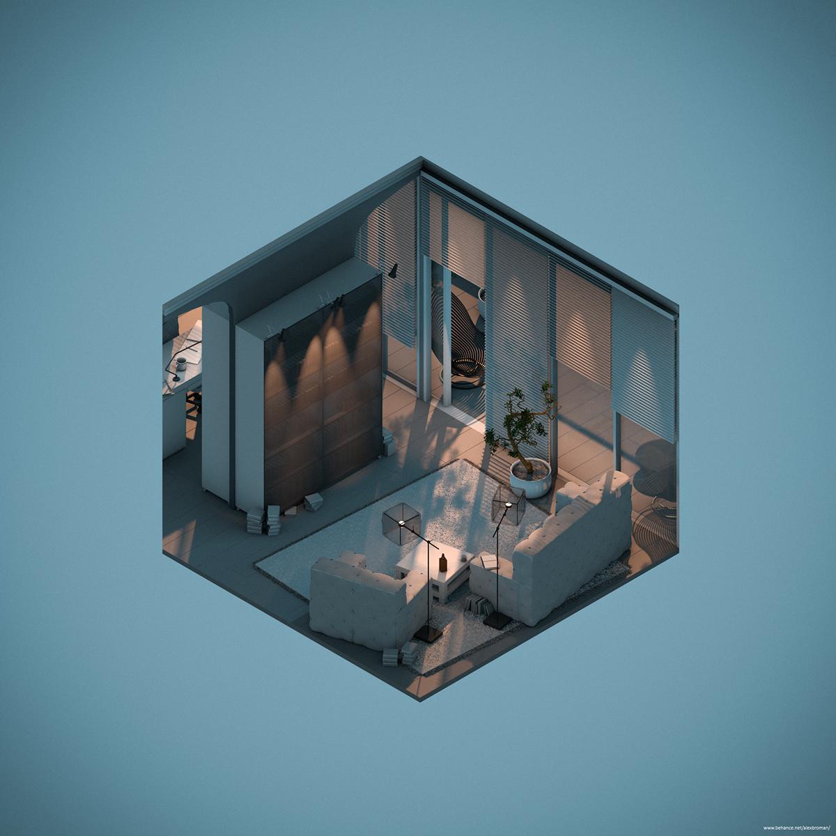 Three Rooms in Isometric View.c4d on Behance 3d 아트, 배경
