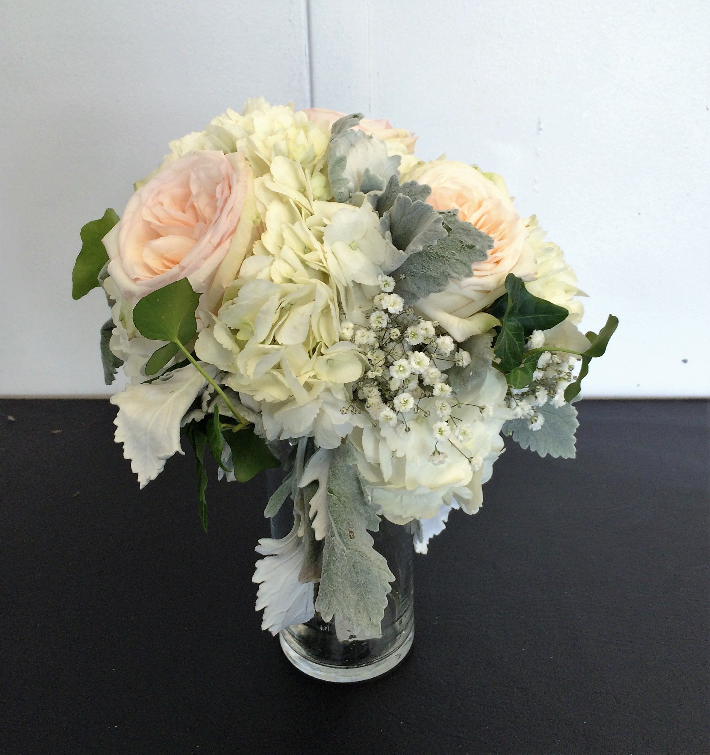 bridal bouquet blush garden roses hydrangea dusty miller babies breath white