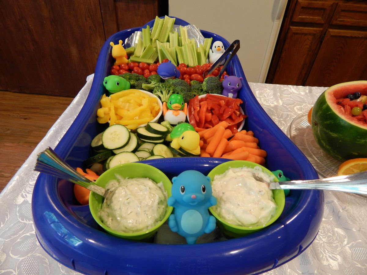 Easy To Make Baby Shower Veggie Tray. Baby Bath Tub And Munchkins Bath Toys  From