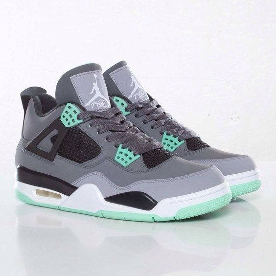 Mint, black, and gray Jordans.