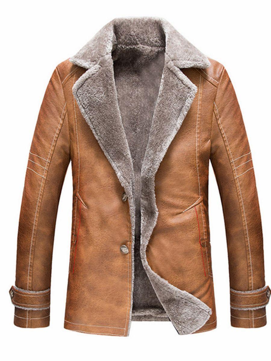 d294def4fc0 Plain Lapel Button Warm Men s Leather Jacket