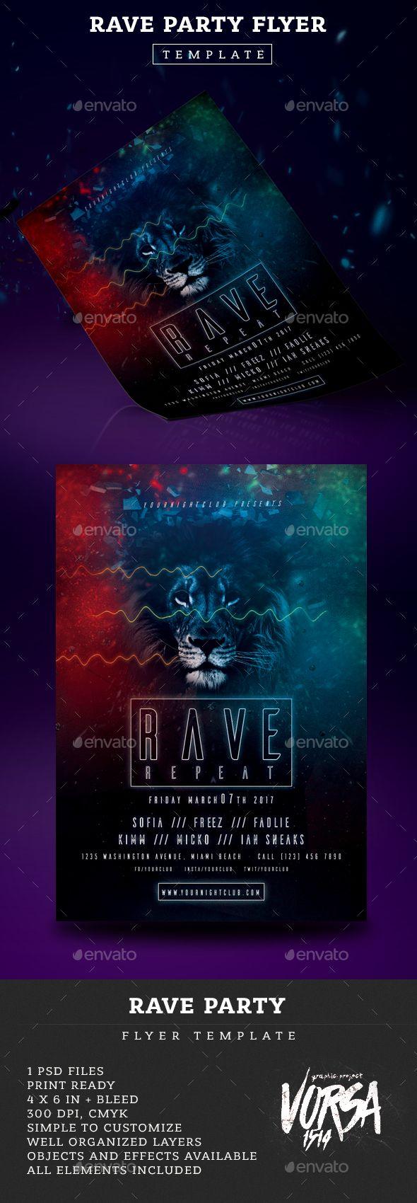 rave party flyer template psd flyer templates pinterest party