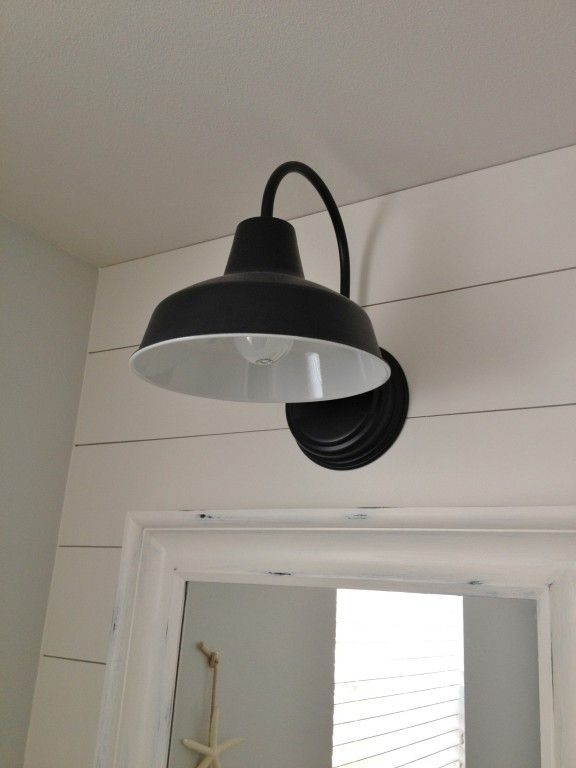 Featured Customer Barn Wall Sconce Lends Farmhouse Look To Powder Room Remake Farmhouse Bathroom Light Vintage Bathroom Lighting Bathroom Wall Sconces