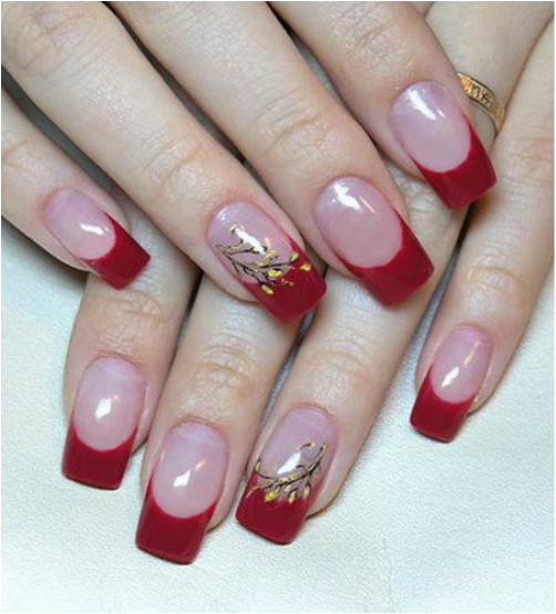 French Manicure with Red Tips and Accent Nail with Flowers - French Manicure With Red Tips And Accent Nail With Flowers Nail