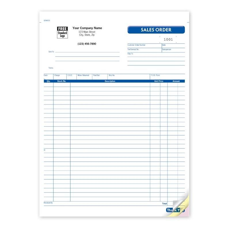 Sales order form, carbonless business forms Sales Invoice Books - business order form