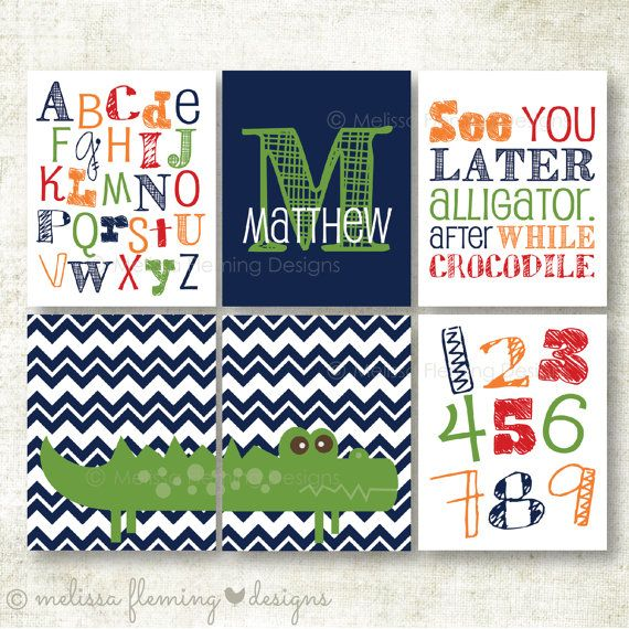 Set of six boy art prints See you later by MelissaFlemingDesign, $30.00